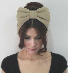 Big Bow Headband Kawaii Fashion Hair Wrap , Golden Brown Plain Color Style on Etsy, $9.95
