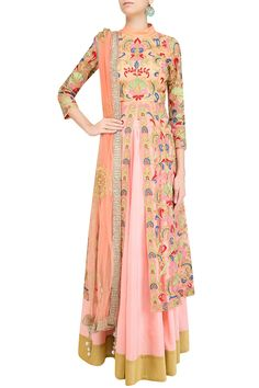 Pink floral embroidered jacket style kurta with skirt by SONALI GUPTA…
