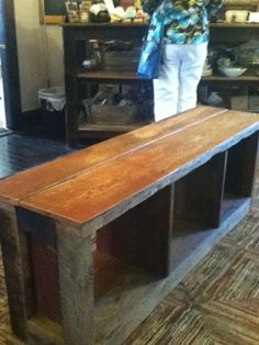 Barnwood bench, with storage underneath for baskets, backpacks, and add a high back with hook for coats