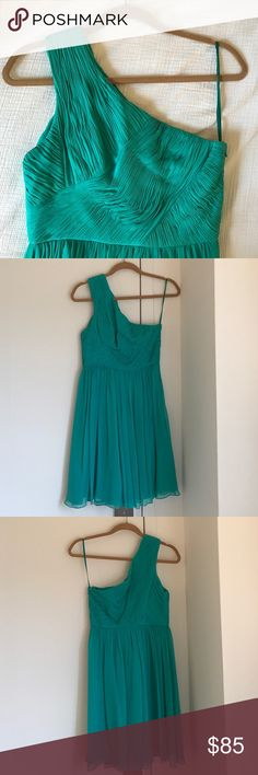 Tibi One Shoulder Teal Cocktail Dress Tibi One Shoulder Teal Cocktail Dress. Lightweight silk/chiffon and a beautiful folded pattern on the bodice. This dress is so pretty it's just always been a little too big in the top so I've never worn it. Perfect for weddings! Size 0. Tibi Dresses One Shoulder