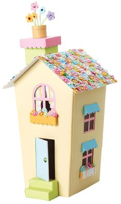 love little houses Diy Arts And Crafts, Diy Crafts For Kids, Decoration St Valentin, Paper Box Template, Paper Houses, Cardboard Houses, Paper Mache Crafts, Vintage Easter, Christmas Home