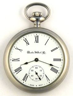 Stainless Steel Satin Chrome Plated Pocket Watch Mechanical Wind