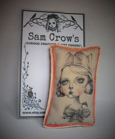 A Curious Creatures Fabric brooch with a print of a by RubyTrinket