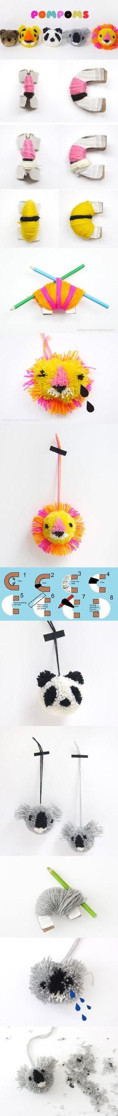 Ponpons a forma di leone, panda e koala, con tanto di #istruzioni per la realizzazione: