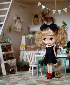Miss yo Black Dress with Ribbon for Blythe doll  by MissBlythe2012, $19.90