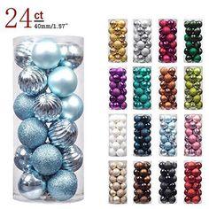 24 PCS Christmas Tree Mix Light Blue Ball Ornaments Shatterproof Home Decoration #KIStore