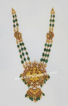 Jewelry OFF! Gold Temple Jewellery, Gold Jewellery Design, Bridal Jewelry, Beaded Jewelry, Bead Jewellery, Antique Jewellery, Bridal Necklace, Selling Gold Jewelry, Emerald Jewelry