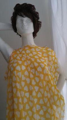 """1 Yard yellow white heart CHIFFON Fabric 58""""  US SHIPPER   Crafts, Fabric   eBay!"""