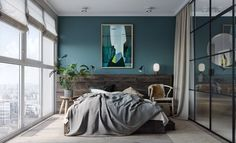 chambre mur bleu canard clemaroundthecorner.com