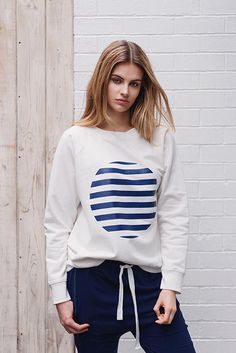 Our new Alice printed Spot Sweatshirt lends a sophisticated look to a super comfy wardrobe staple. Available in Floss Pink, Ivory and Cloud. ο cotton, Studio, Hoodies, Sweatshirts, Wardrobe Staples, Ivory, Spring Summer, Navy, Sweaters, Cotton
