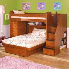 Lits superposés en bois avec escaliers et tiroirs