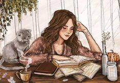 jpaddey: Recent commission for a lovely girl named Mély. Art And Illustration, Art Anime Fille, Anime Art Girl, Cartoon Kunst, Cartoon Art, Illustrations Harry Potter, Girly Drawings, Reading Art, Digital Art Girl