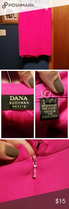 Dana Buchman hot pink pencil skirt In excellent like new condition. Rayon material. Zipper back with a small slit. * Dana Buchman Skirts Pencil