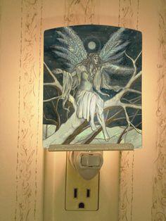 Midnight Ice Faerie Porcelain Tile Night by MickieMuellerStudio