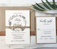 Rustic Greenery Wedding Invitation, This rusticwedding invitation is sure to impress your guests, with the beautiful greenery wreath design and beautiful moder