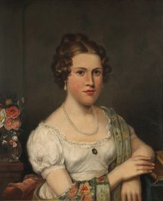 Anonymous artist, Young woman, early 1820s?, via Thomaston Auction