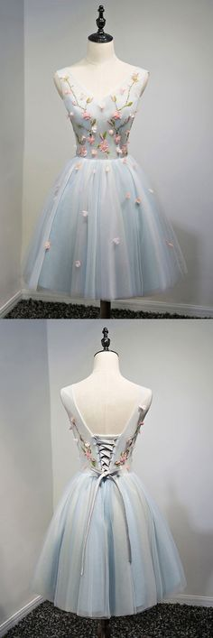 Only $138, Unique V-neck Dusty Blue Tulle Short Prom Party Dress With Flowers #MDS17043 at #SheProm. SheProm is an online store with thousands of dresses, range from Prom,Homecoming,Graduation,Grey,A Line Dresses,Short Dresses,Customizable Dresses and so on. Not only selling formal dresses, more and more trendy dress styles will be updated daily to our store. With low price and high quality guaranteed, you will definitely like shopping from us.