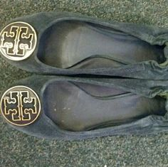 Tory Burch navy suede reva flats In great condition, just haven't worn them a lot. Size 9. Does not come with the box. Tory Burch Shoes Flats & Loafers