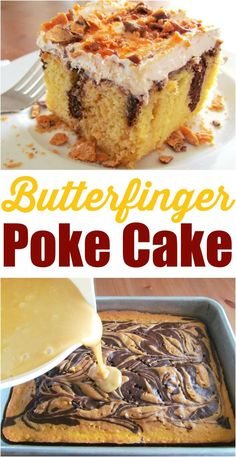 Butterfinger Poke Cake recipe from The Country Cook