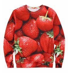 Strawberry 3D Print Unisex Fleece Sweater