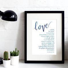 Love is patient 1 - 1 Corinthians 13 print - A4 Hand-Lettered Original - Faith Print - Wedding Print - Wedding Gift - Anniversary Gift
