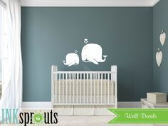 Cute Whale Decal, Baby whale, Whale family, Nautical decal , Orca, Sea, Under the sea, Modern Nursery, Nursery decals, Baby Decals,