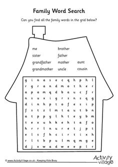 Find all the family words in this word search puzzle. English Games For Kids, English Worksheets For Kids, English Lessons For Kids, Kids English, English Activities, Preschool Worksheets, Learn English, French Lessons, Spanish Lessons