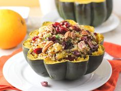 Orange Quinoa Stuffed Acorn Squash with Pecans. This turned out really good! I used almonds and golden raisins and added chicken. Chicken mixture may need a little more spices..