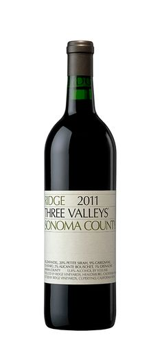 Ridge, Three Valleys: This year's wine contains grapes from 7 Sonoma vineyards. We take great care in selecting the fruit, which is hand-harvested, then crushed and fermented. Unlike our single-vineyard wines, which reflect the distinctive character of each site, Three Valleys represents the blending of vineyards - winemaking - at it's finest. Bright fruit acidity; spice, fruit and lively tannins.