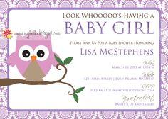 Owl Baby Shower Invitation with Sunburst Background.