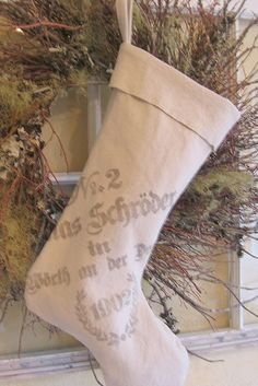 french grain sack stocking...ticking and toile...<3