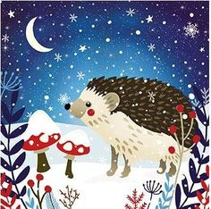 Box of 20 Charity Christmas Cards (ALM2947) Starlit Fox / Hedgehog - Sold in Aid of the Woodland Trust: Amazon.co.uk: Office Products