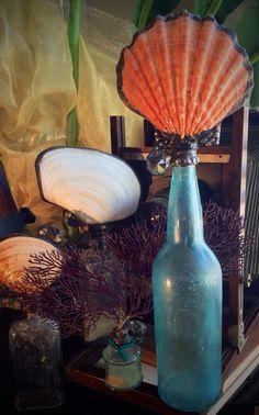 Vintage Topped Shell Bottle Solder Art Bohemian by tresorbleu