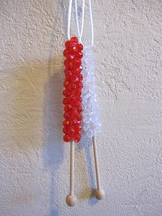 Rock Candy Stick Ornaments - adaptable for swaps. Could use any kind of glued-on small bead instead of a round wooden bead.