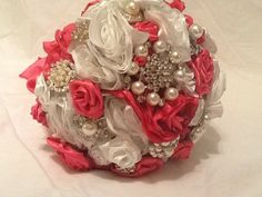 Pink and White Brooch Bouquet With Silk Flowers and Pearl Rhinestones on Etsy, $220.00