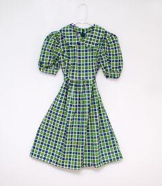 Vintage girl's green and blue plaid dress. $13.00, via Etsy.