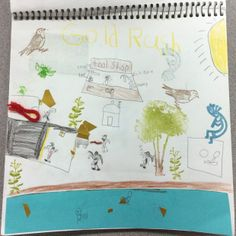 An art journal page about the California Gold Rush - this page combines learning about state history with art!  :]