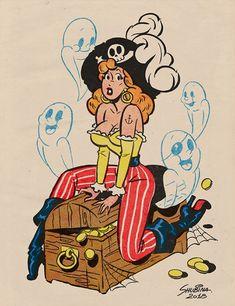 "Retro Style Halloween Pinup Prints by SvetaShubinaGallery ""x / x x / x x / x x / x x / x "" Vintage Cartoon, Vintage Comics, Cartoon Art, Vintage Art, Vintage Pins, Halloween Pin Up, Vintage Halloween, Dibujos Pin Up, Pin Up Cartoons"