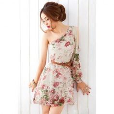 $10.30 Retro Style One Shoulder Floral Print One Long Sleeve Dress For Women