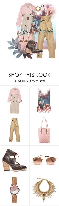 """Prada Spring Trench"" by flippintickledinc ❤ liked on Polyvore featuring Prada, Carine Gilson, Amanda Wakeley, Gucci, Steven by Steve Madden, Ray-Ban, Gomelsky and NOVICA"