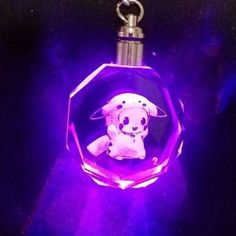 Pokemon Pikachu Charizard Mewtwo HAPPY PET Crystal Key Chain LED light Pendant