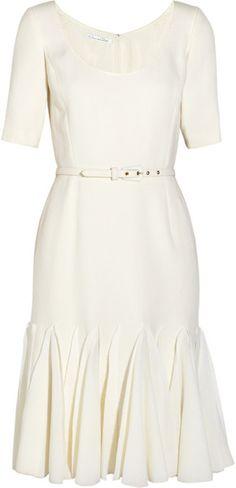 OSCAR DE LA RENTA Wool Crepe Dress - Lyst