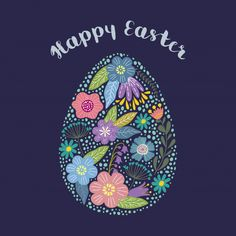 Isolated Cartoon Cute Egg With Floral Design With Text. Easter Images Free, Happy Easter Photos, Happy Easter Day, Easter Pictures, Easter Weekend, Hoppy Easter, Vintage Easter, Flower Vintage, Vintage Floral