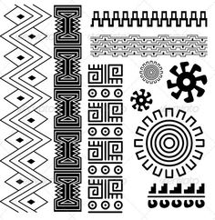 Vector Art: Native American Patterns from Pottery Designs — Vintage Vectors Arte Tribal, Aztec Art, Mayan Tattoos, Inca Tattoo, Indian Tattoos, Tribal Tattoos, Native American Patterns, Native American Design, Marquesan Tattoos