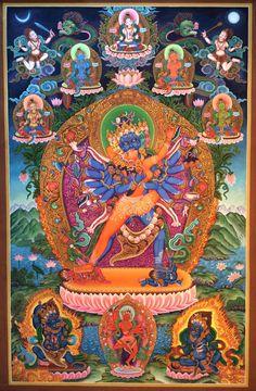 Chakrasamvara and Vajravarahi Newar Paubha Buddhist Symbols, Buddhist Art, Buddha Buddhism, Tibetan Buddhism, Tantra Art, Complex Art, Mahayana Buddhism, Tibetan Art, Taoism