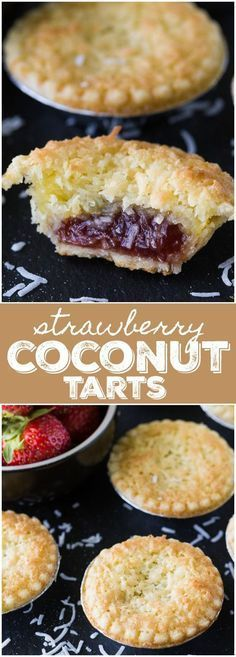 Strawberry Coconut Tarts - Sweet and super simple to make. This old-fashioned recipe has stood the test of time for good reasons. Coconut Tart, Griddle Pan, Griddles, Super Easy, Strawberry, Pie, Sweet, Simple, Desserts