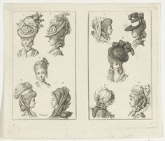 Daniel Nikolaus Chodowiecki | Twee prenten met kapsels en hoofddeksels, Daniel Nikolaus Chodowiecki, 1736 - 1801 |