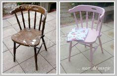 Oude stoel geverfd met de roze decoverf van Action. Old chair painted with pink chalk paint.