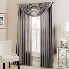 Enhance your home with the sophisticated and stylish Charlotte Window Scarf Valance. Bay Window Curtains Living Room, Home Curtains, Curtains With Blinds, Panel Curtains, Window Scarf, Scarf Valance, Curtain Styles, Curtain Designs, Living Room Decor