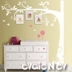 Children Wall Decal Wall Sticker tree decal  - Family Tree with Flowers and Butterflies - Tree Wall Decal for Picture Frames  - TRFRM010. $95.00, via Etsy.